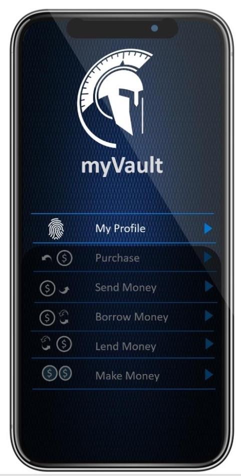 A mobile phone showing the VaultID myVault eKYC app